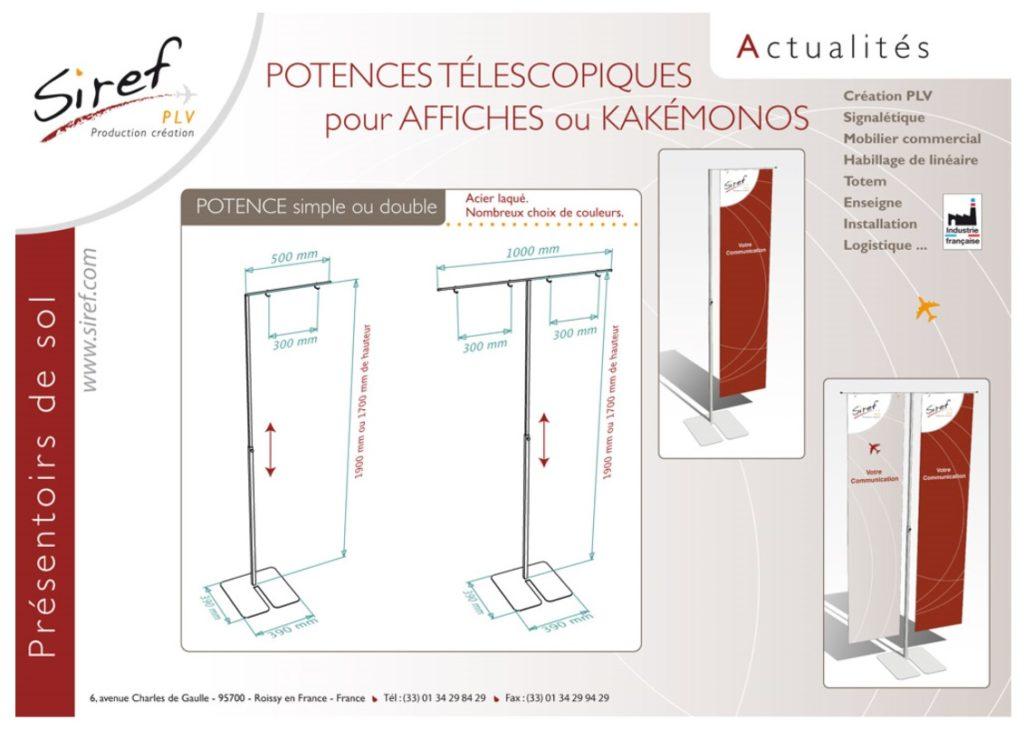 PLV Acier - potence télescopique - présentoir de sol - signalétique